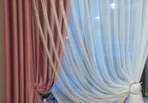 Терракотовая штора с гардиной
