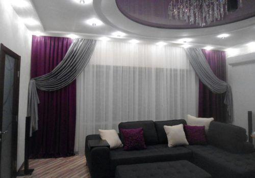 Сиреневая гостиная со шторами в Харькове